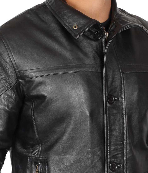 Black Leather Long Jacket