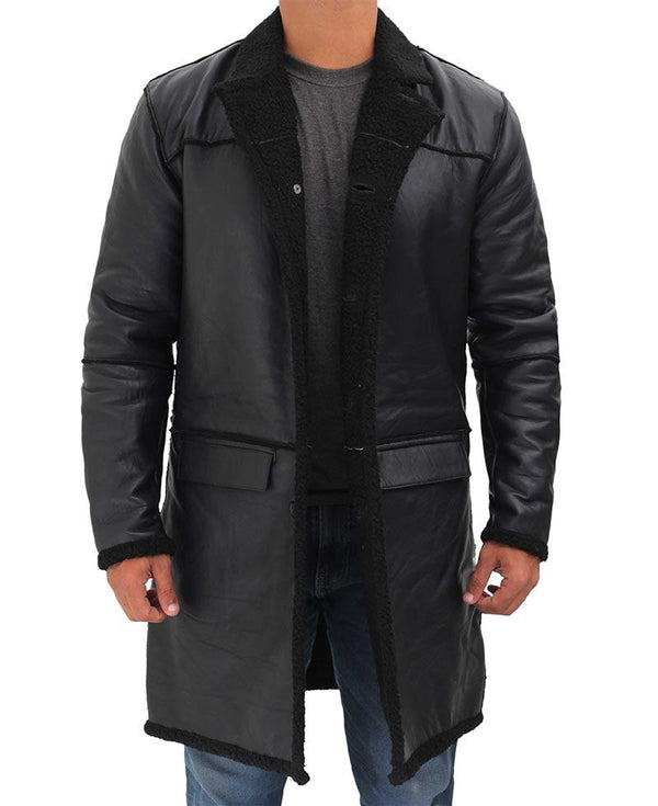 Black Leather Shearling Coat