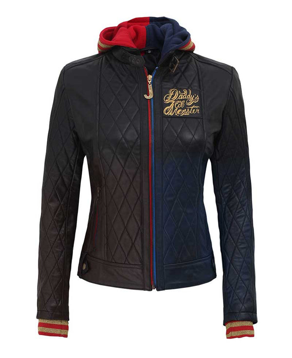 Harley Quinn Quilted Leather Hooded Jacket