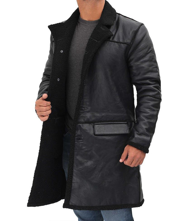 3 4 Length Black Leather Coat