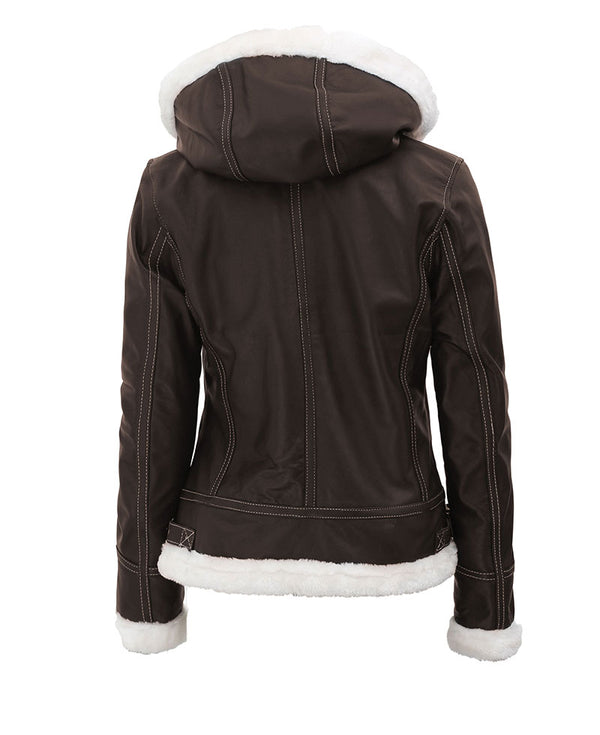 Mary Dark Brown B3 Bomber Leather Jacket Womens
