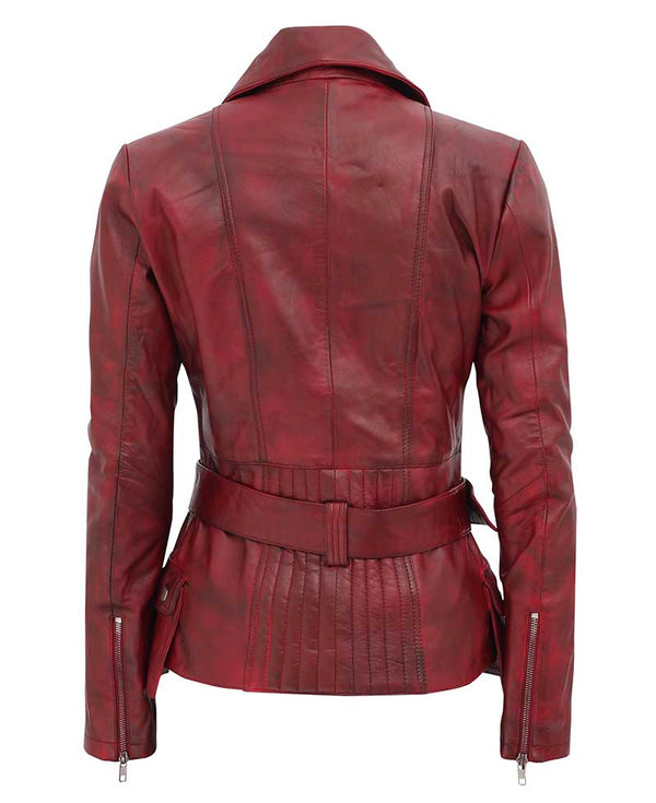 Red Leather Jacket for Women