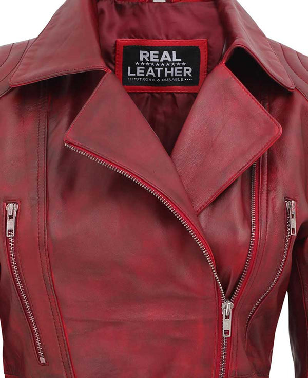 Womens Red Asymmterical Jacket