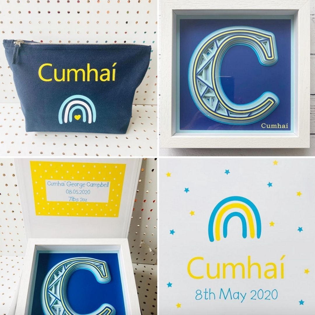 Baby Boy Personalised Initial Frame, Small Pouch & Gift Box Bundle Baby Boy Frame Box Bundle StudioEight.ie
