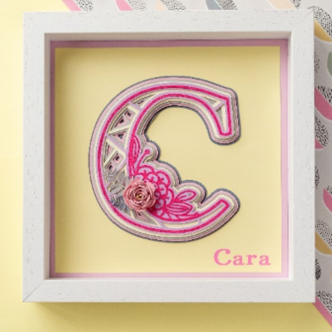 Baby Girl Personalised Initial Frame & Gift Box Bundle