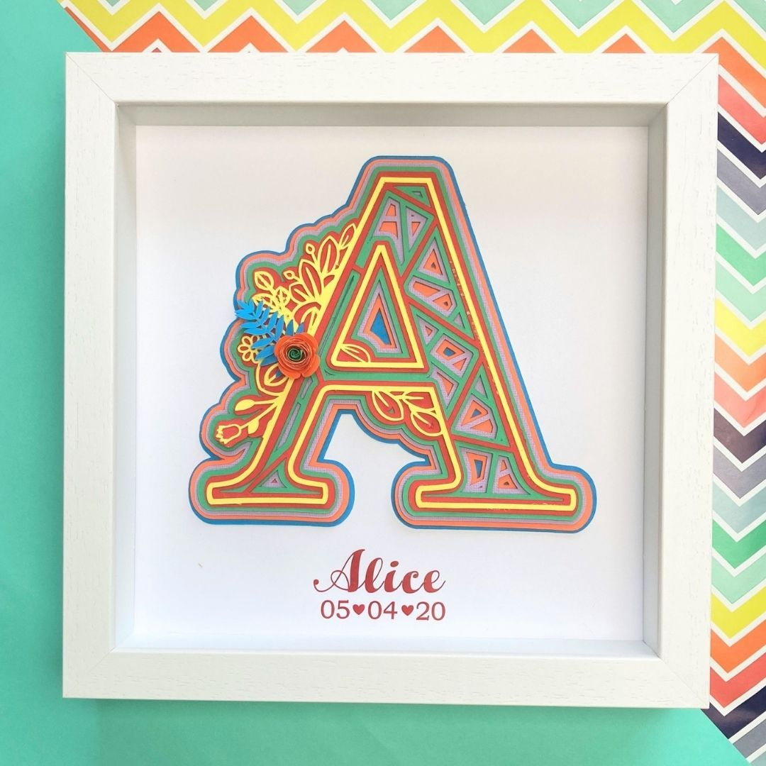Layered Initial Design Rainbow Coloured Frame Rainbow Coloured Frame StudioEight.ie
