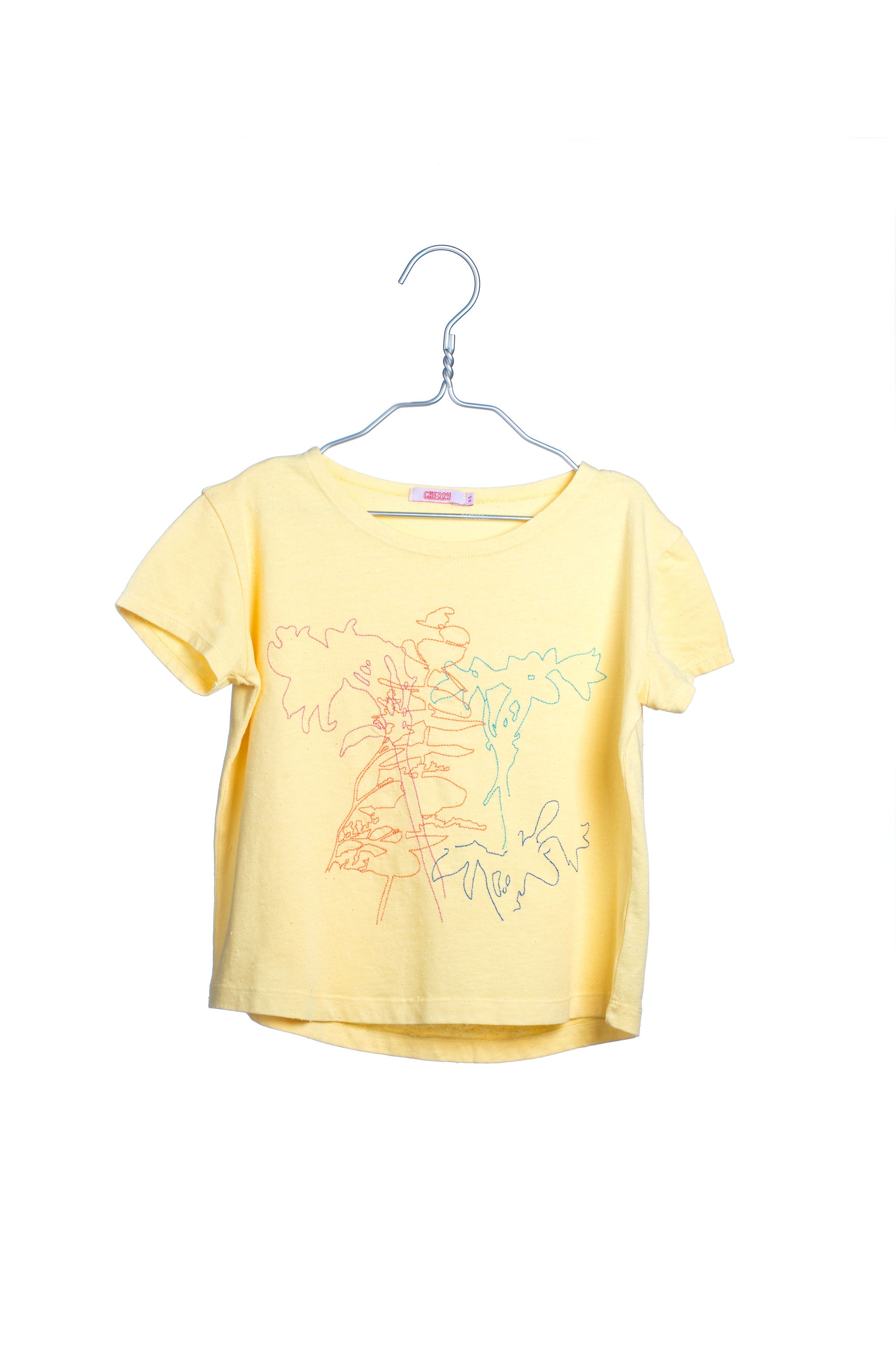 1715 Embroidered Flowers Tee - Yellow