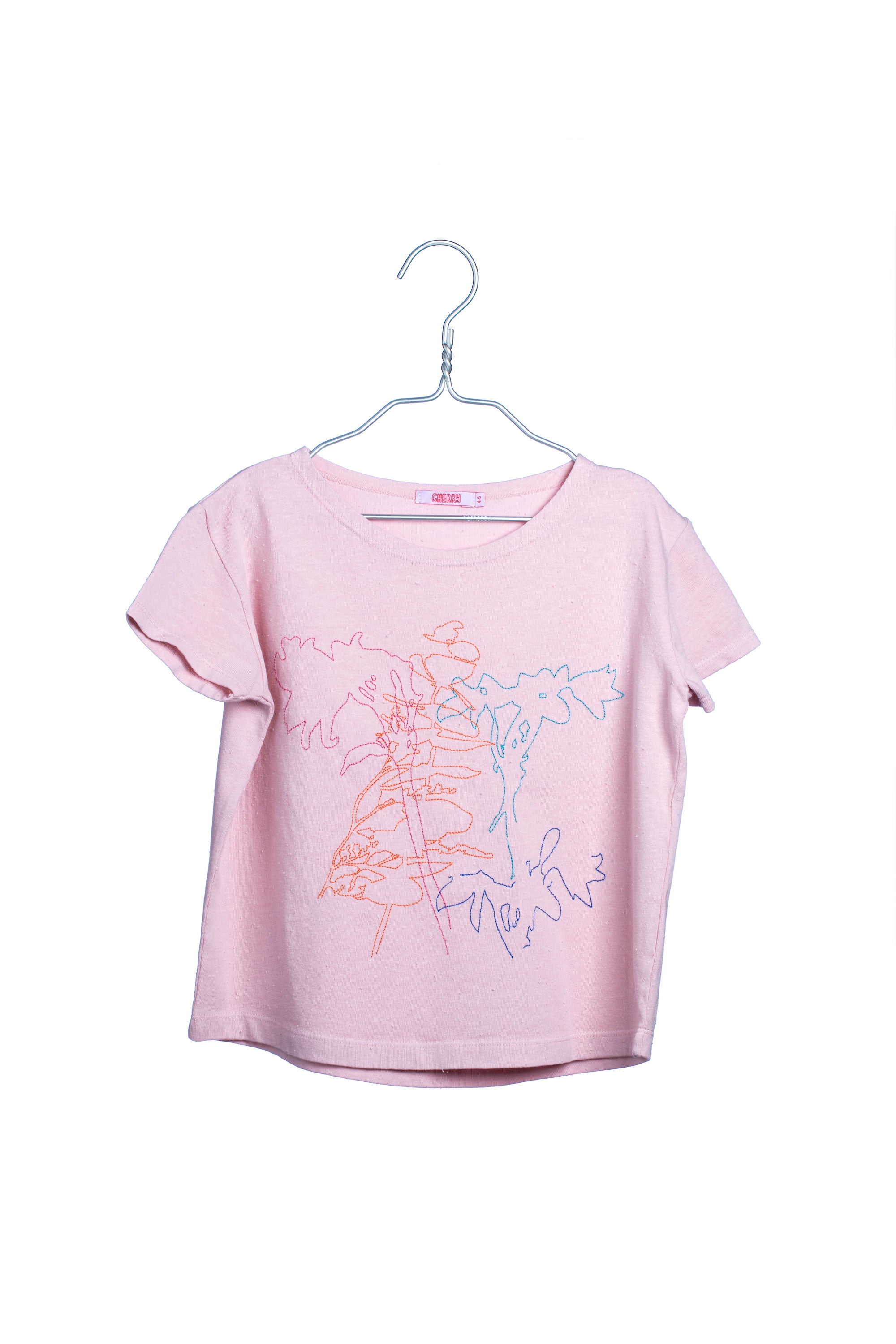 1715 Embroidered Flowers Tee - Pink