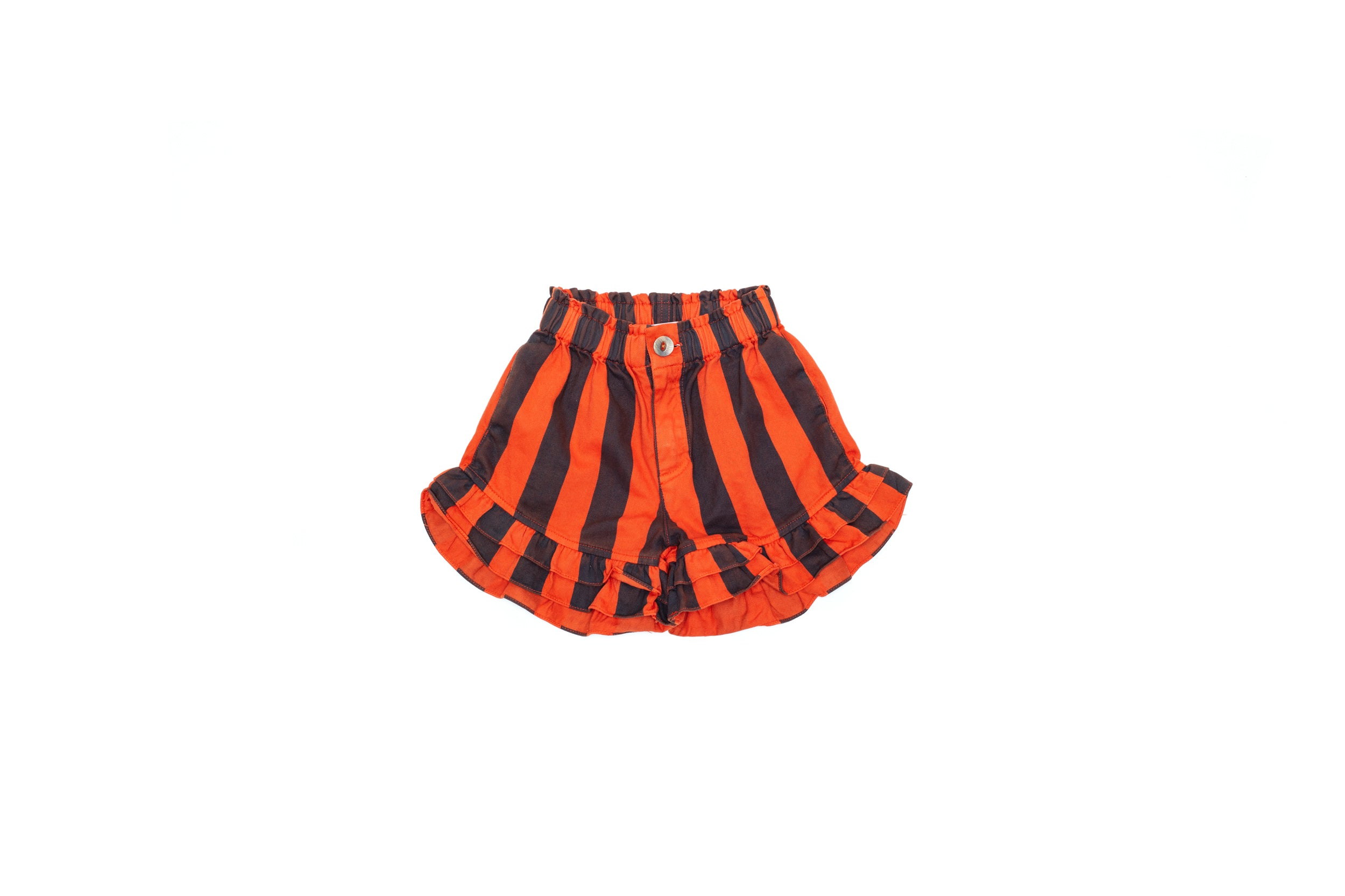 Ruffle Stripped Shorts Orange