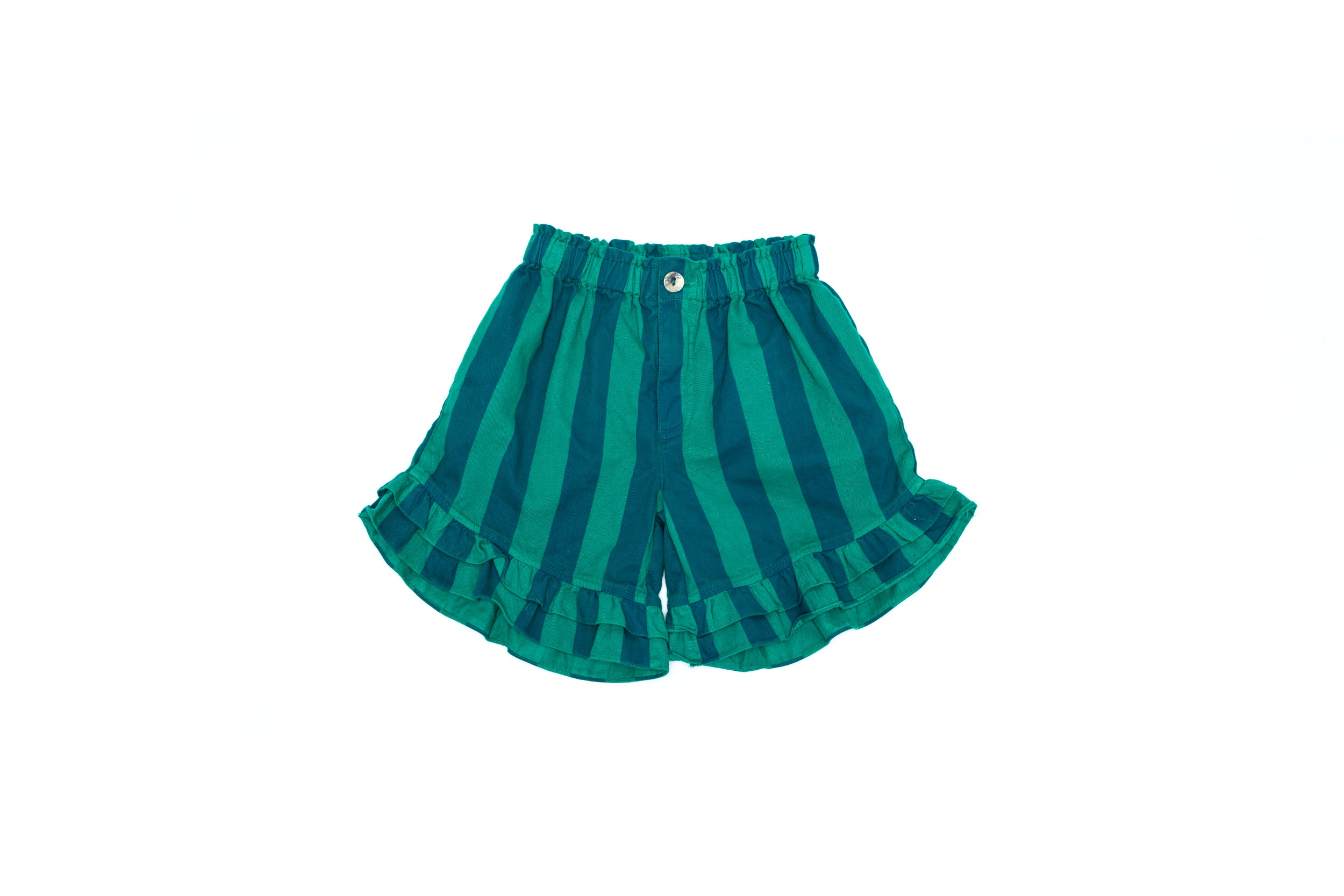 Ruffle Stripped Shorts Green