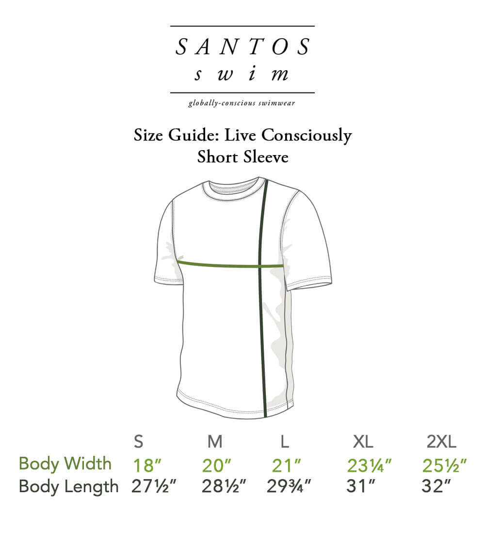 Live Consciously Short Sleeve Size Guide
