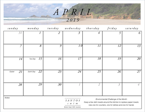 Santos Swim April Free PDF Calendar Download