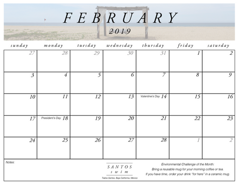 Santos Swim February Free PDF Calendar Download