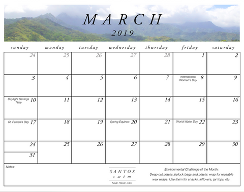 Santos Swim March Free PDF Calendar Download