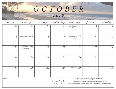 October 2019 Free Calendar Download PDF