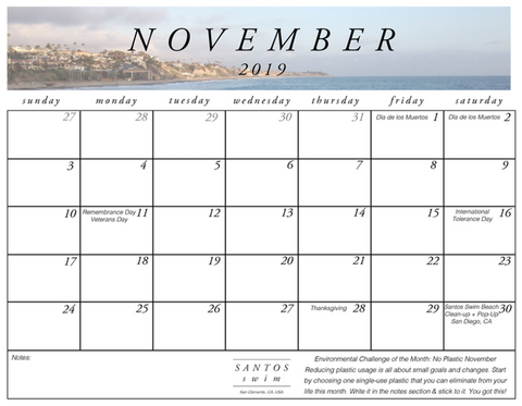 November 2019 Free PDF Calendar Download San Clemente