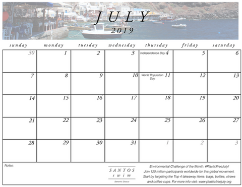 July Santos Swim Calendar Download PDF