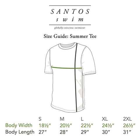 Santos Swim Summer Tee Size Guide