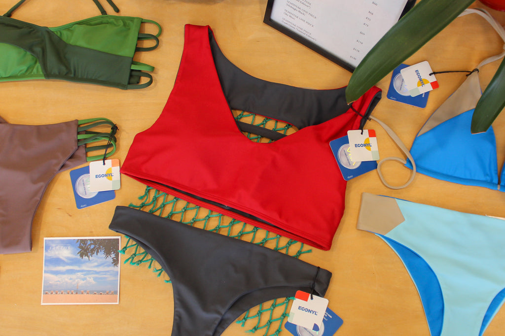 Red Sporty Swim Top Green Bandeau Top Blue Triangle Top