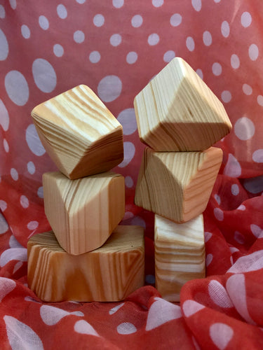 Wooden Faceted Gem Blocks - Natural 6 piece