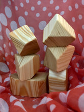 Load image into Gallery viewer, Wooden Faceted Gem Blocks - Natural 6 piece