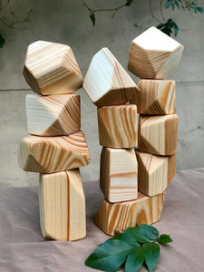 Wooden Faceted Gem Blocks - Natural 12 piece
