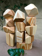 Load image into Gallery viewer, Wooden Faceted Gem Blocks - Natural 12 piece
