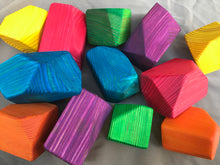 Load image into Gallery viewer, Wooden Faceted Gem Blocks - Bright Rainbow 12 piece