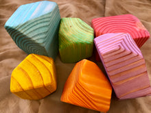 Load image into Gallery viewer, Wooden Faceted Gem Blocks - Pastel Rainbow 6 piece