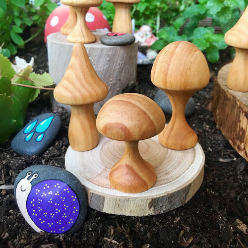 Wooden Mushrooms Set of 3