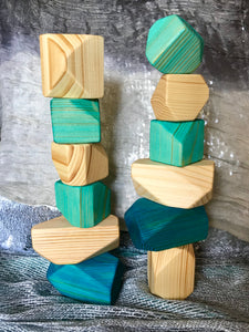 Wooden Faceted Gem Blocks - Winter Inspired 12 piece