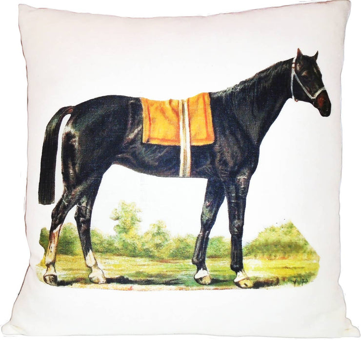 Out to Pasture Pillow - Warm White/ Linen/ Knife Edge - Horse Country Trading Company