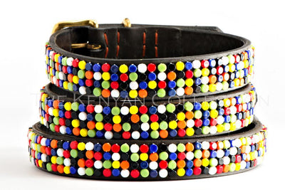 """Confetti"" Belt Flat Czech Beads Standard Width - Horse Country Trading Company"