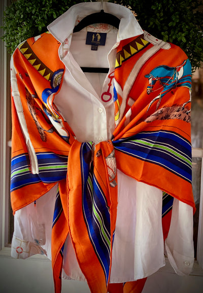 Orange Hermes Inspired 70/30 Cashmere/Silk Scarf - Horse Country Trading Company