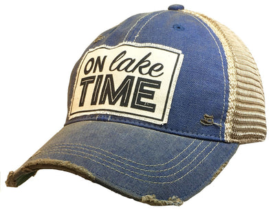 On Lake Time Distressed Trucker Cap Royal Blue - Horse Country Trading Company