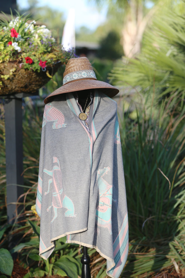 Imitation Cashmere Grey with Pink/Light Blue Wrap - Horse Country Trading Company