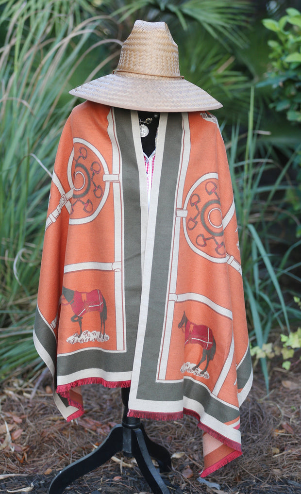 Imitation Cashmere Orange/Olive Wrap - Horse Country Trading Company
