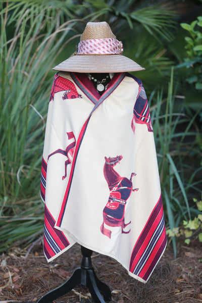 Imitation Cashmere Red/Navy Wrap - Horse Country Trading Company