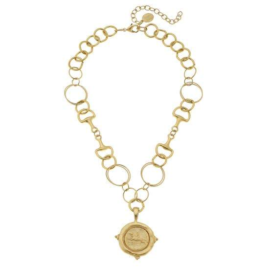 Horse Bit Necklace with Gold Equestrian Pendant - Horse Country Trading Company