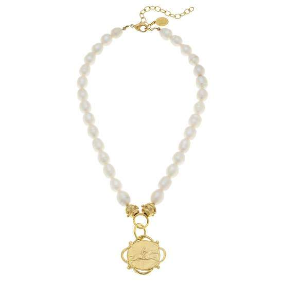 Freshwater Pearl Necklace with Gold Equestrian Pendant - Horse Country Trading Company