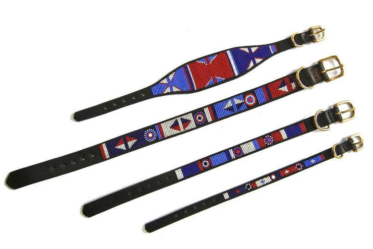 """Red White Blue"" Beaded Dog Collar - Horse Country Trading Company"