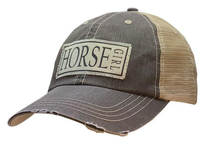 Horse Girl Distressed Trucker Cap Light Brown - Horse Country Trading Company