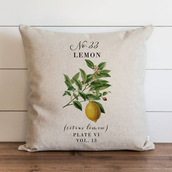 Lemon Botanical Pillow - Horse Country Trading Company