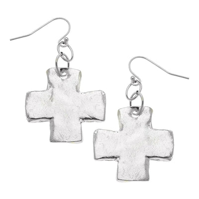 Silver Cross Earrings - Horse Country Trading Company