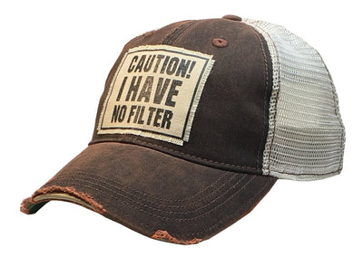 Caution! I Have No Filter Distressed Trucker Cap - Horse Country Trading Company