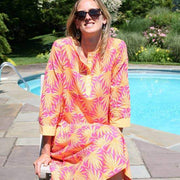 Palma Peach Long Button Front Kaftan - Horse Country Trading Company