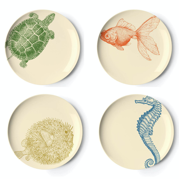 Sealife Side Plates - Set of 4 - Horse Country Trading Company