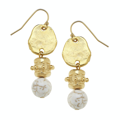 Gold with White Turquoise Earrings - Horse Country Trading Company