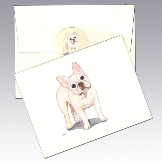French Bulldog Creme Note Cards - Horse Country Trading Company