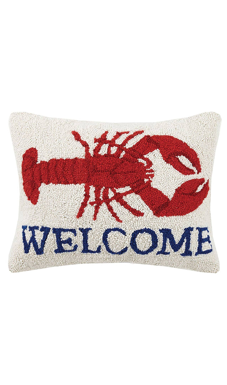 """Welcome"" Lobster Hook Pillow - Horse Country Trading Company"